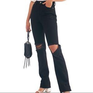Free people High rise black straight leg jeans